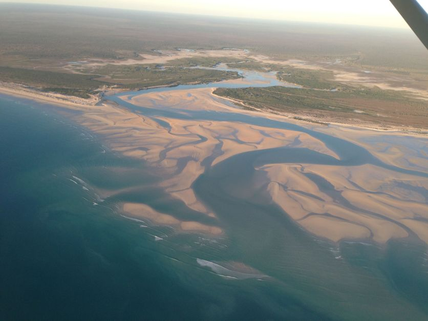 Aerial of the coastline near Cable Beach