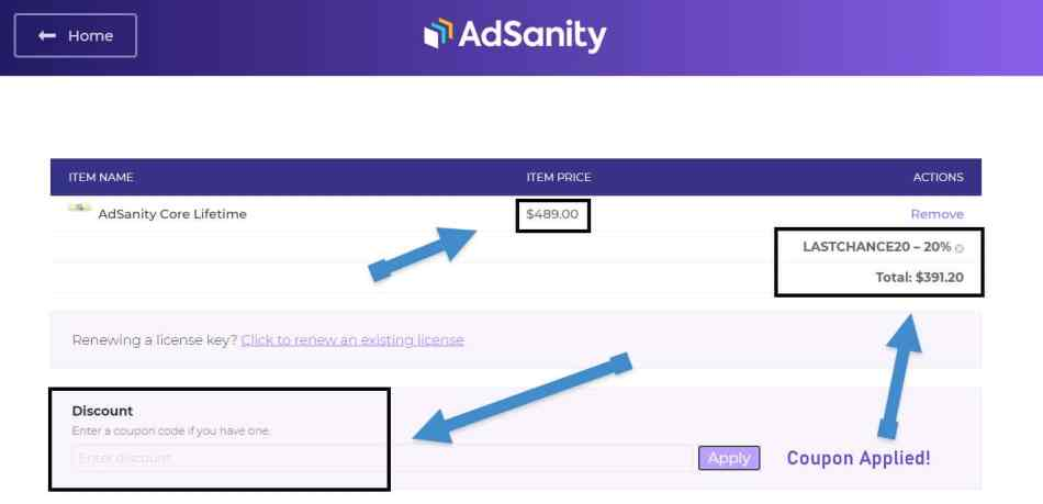 AdSanity Discount Applied