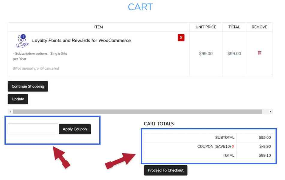 FlyCart Coupon Applied