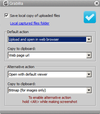 You can save captures locally or upload them automatically. Also you can define alternative actions for capturing.