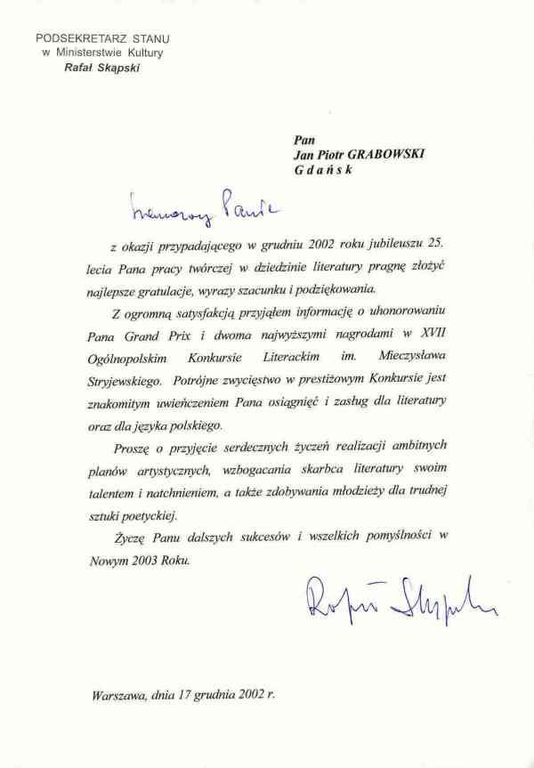 2002_17-grudnia_Gratulacje_Podsekretarz-Stanu-w-Ministerstwie-Kultury_zm
