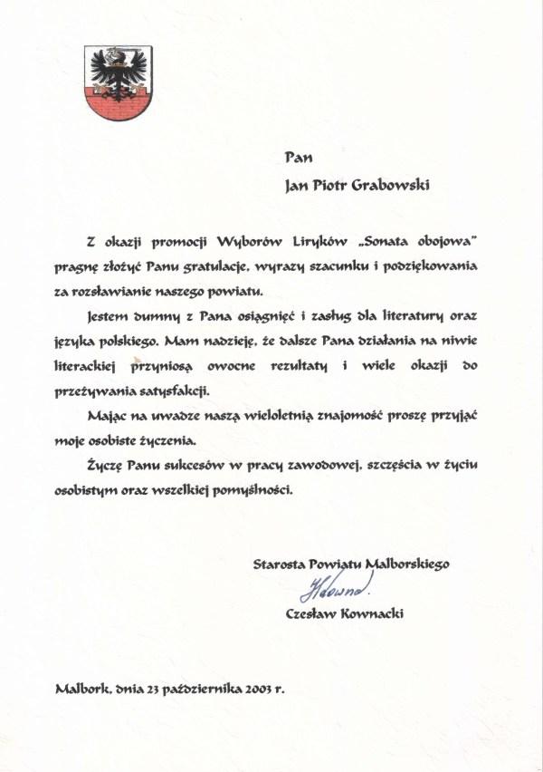 2003_23-października_Gratulacje_Starosta-Powiatu-Malborskiego