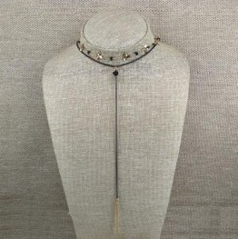 Golden layered lariat necklace