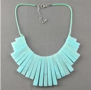 Teal stoned Textured Necklace
