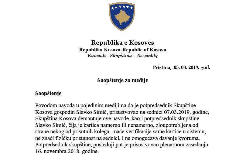Slavko Simić nije prisustvovao sednici Skupštine Kosova 7. 03. 2019. godine