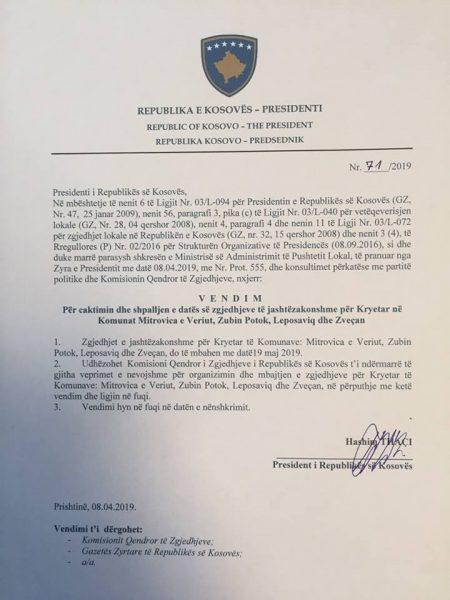 Тачи одлучио: У мају ванредни локални избори на Северу Косова