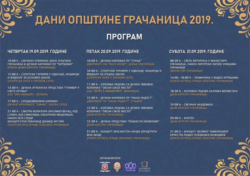 Дан Општине Грачаница, тродневне културне и спортске манифестције