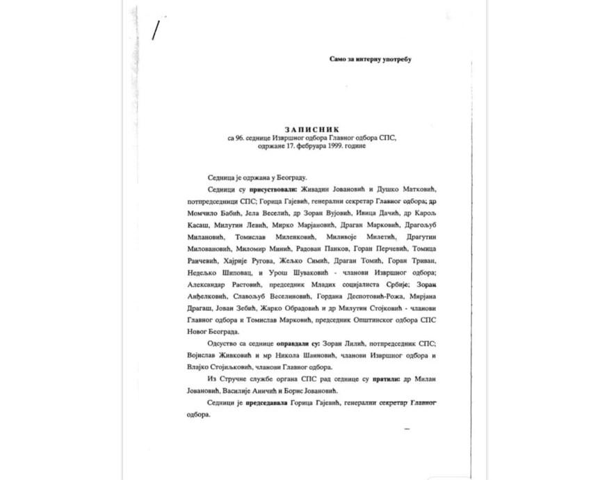 Зиберај објавио записник СПС-а из '99: Основ да се Дачић позове у Специјални суд; А шта папир садржи?