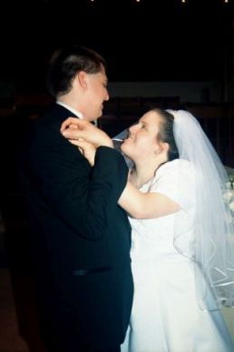 Jon and Jen on their wedding day