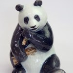 Royal Copenhagen Denmark Figurine 662 Giant Panda Bear Seated Eating Bamboo