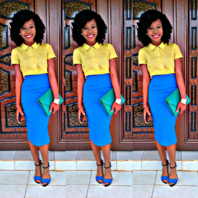 YELLOW/NEON GREEN AND BLUE TRENDY COLOR BLOCK