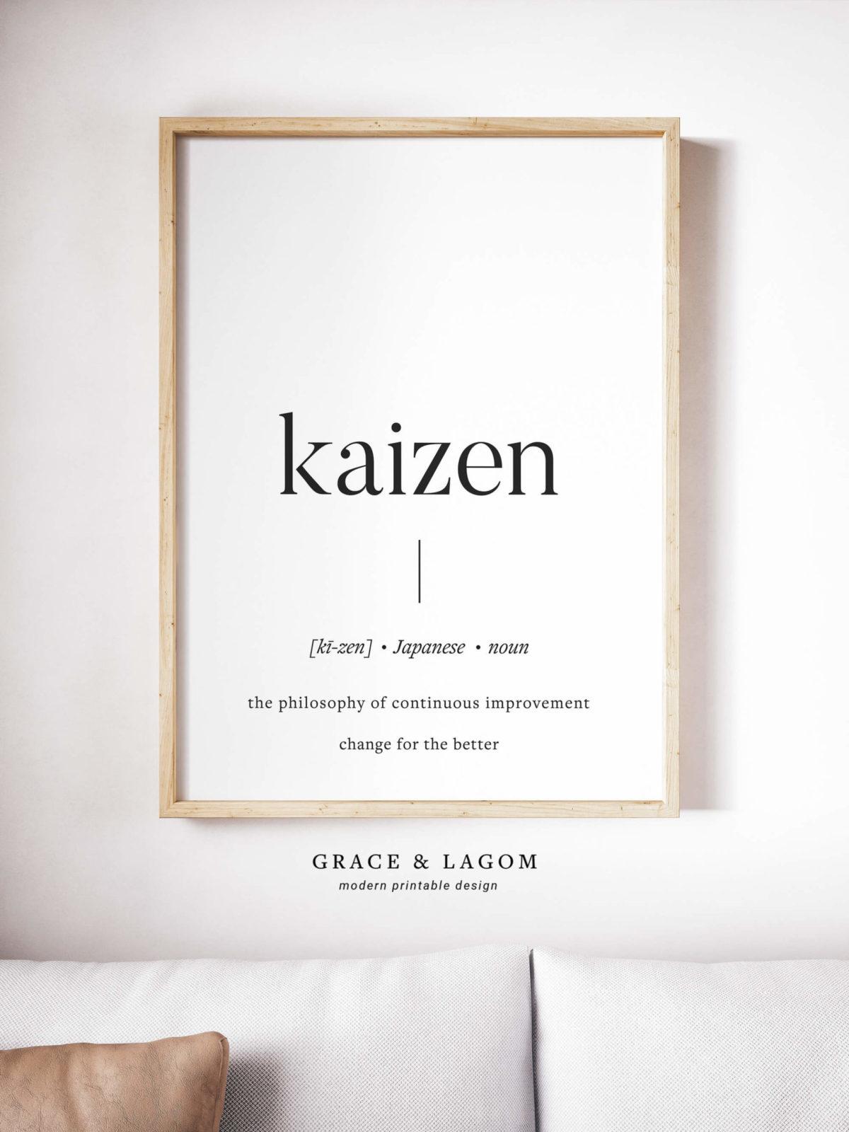 kaizen definition printable wall art scandinavian art