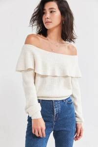 Kimchi Blue Chrissy Off-The-Shoulder Ruffle Sweater