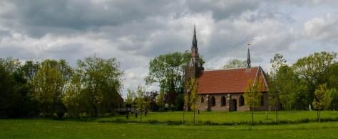 The moat surrounding Harkema's church