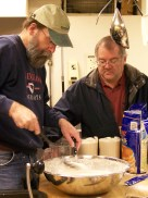 Jeffrey Hamilton & Jeff Dombach cook breakfast at First Reformed Church, Lancaster, Pennsylvania, in November 2011
