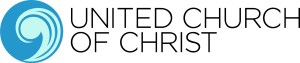 Logo of United Church of Christ, including the stylized comma in shades of blue and green.