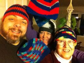 My daughter, my son-in-law and I modeling some of the hats!