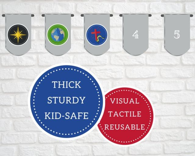 thick, sturdy, kid-safe, visual, tactile, reusable