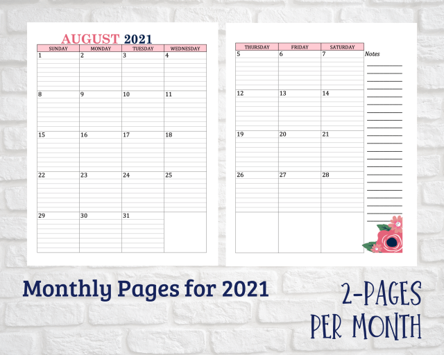 Monthly Pages for 2021