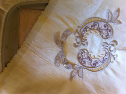 Lining up the embroidery on to your outline