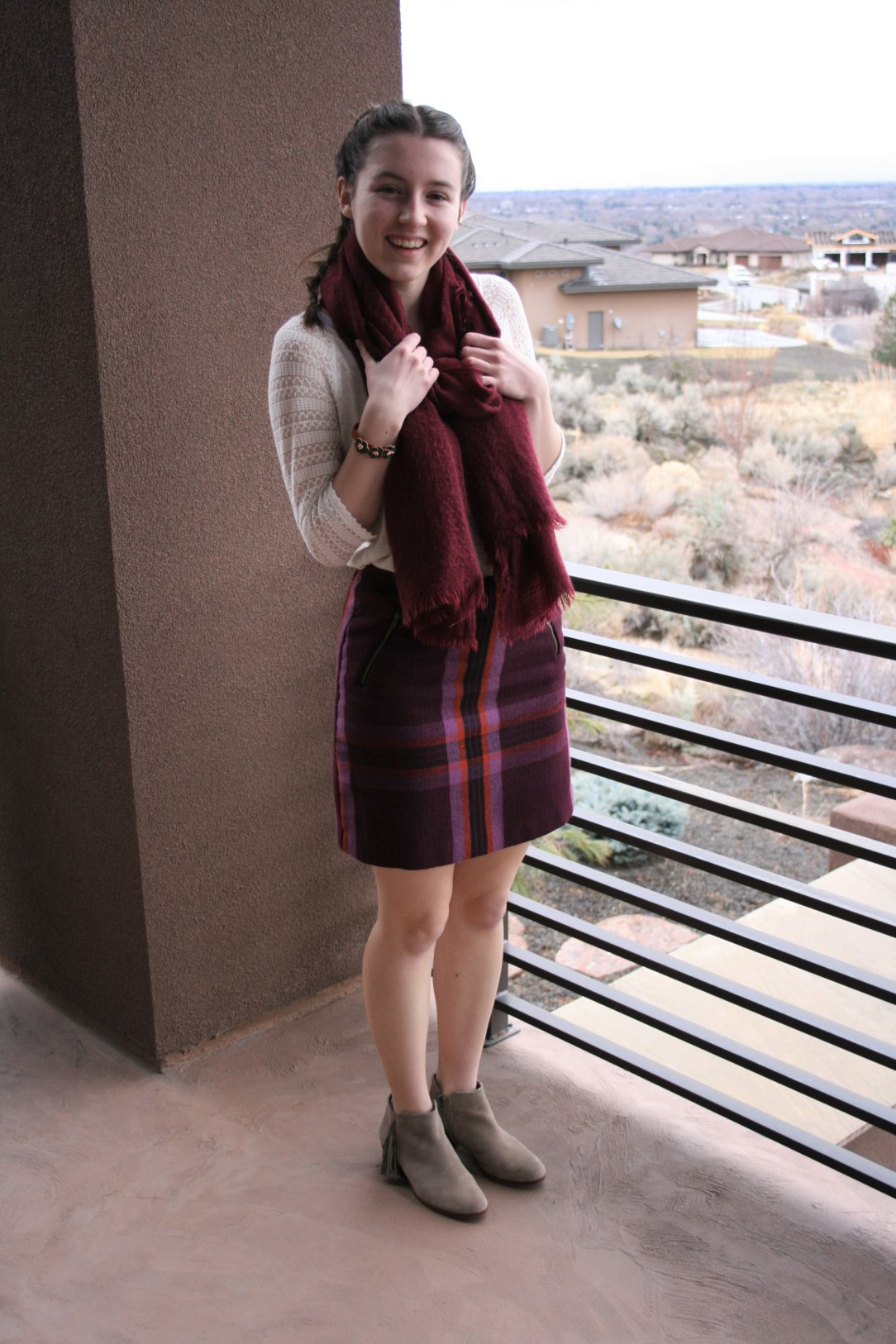 plaid skirt, burgundy blanket scarf, fall fashion