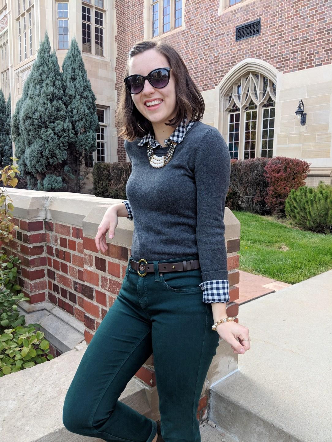 grey sweater, buffalo check shirt, green pants