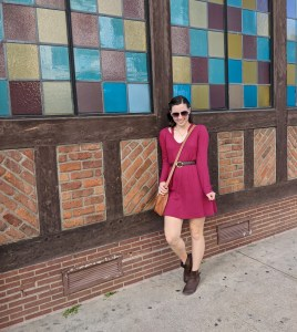 a cute fall outfit with a red dress and brown booties