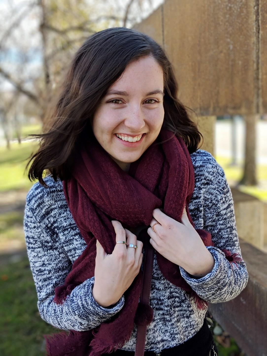 staying cozy bundled maroon scarf