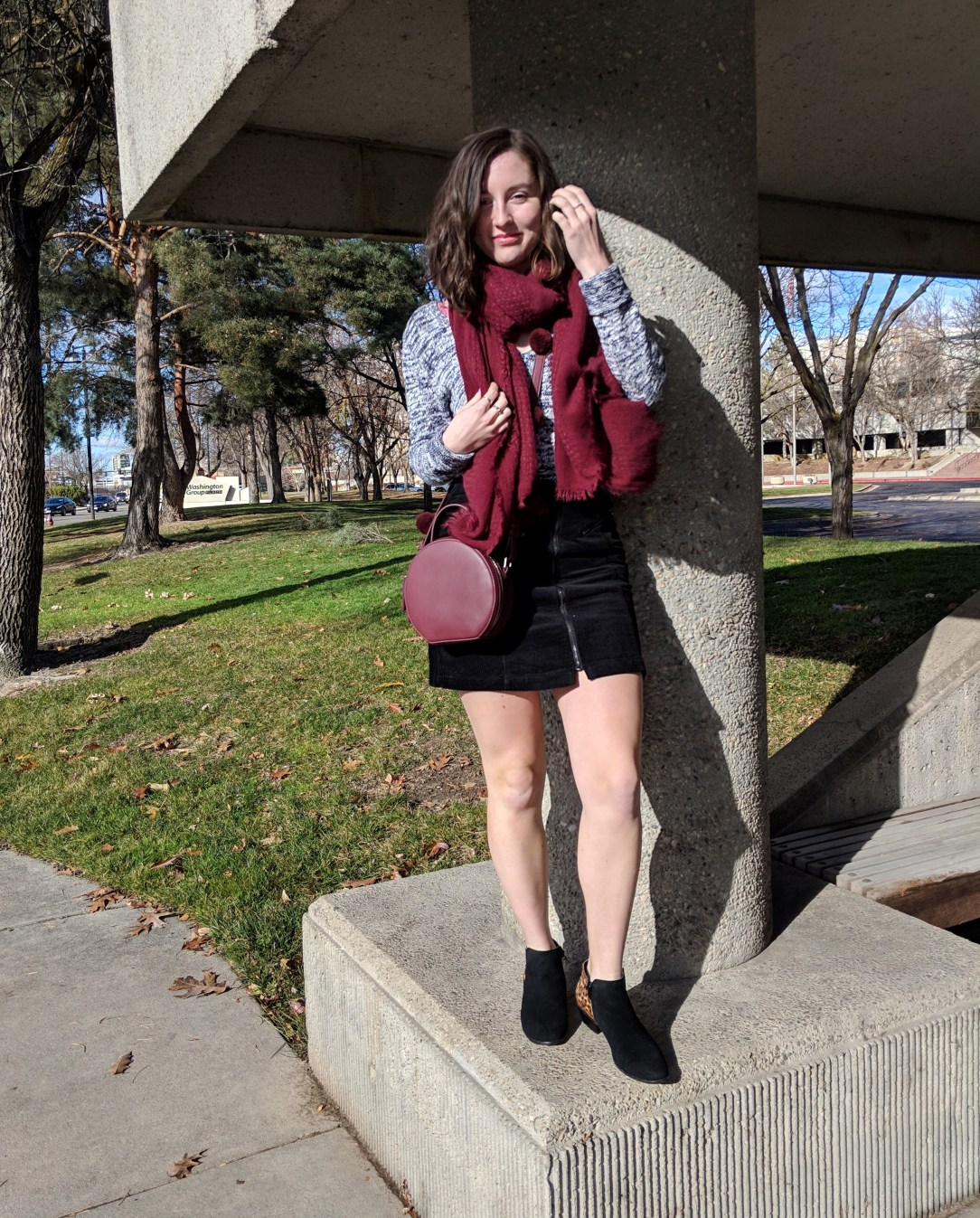 black booties maroon accessories