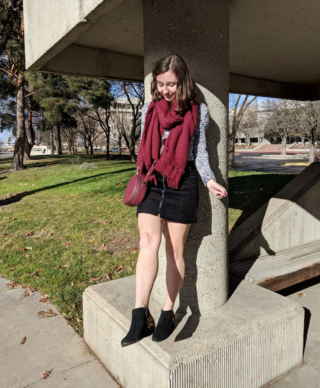 black mini skirt winter cozy outfit