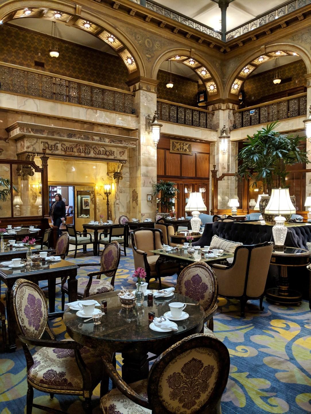 vintage hotel tea room old glamour