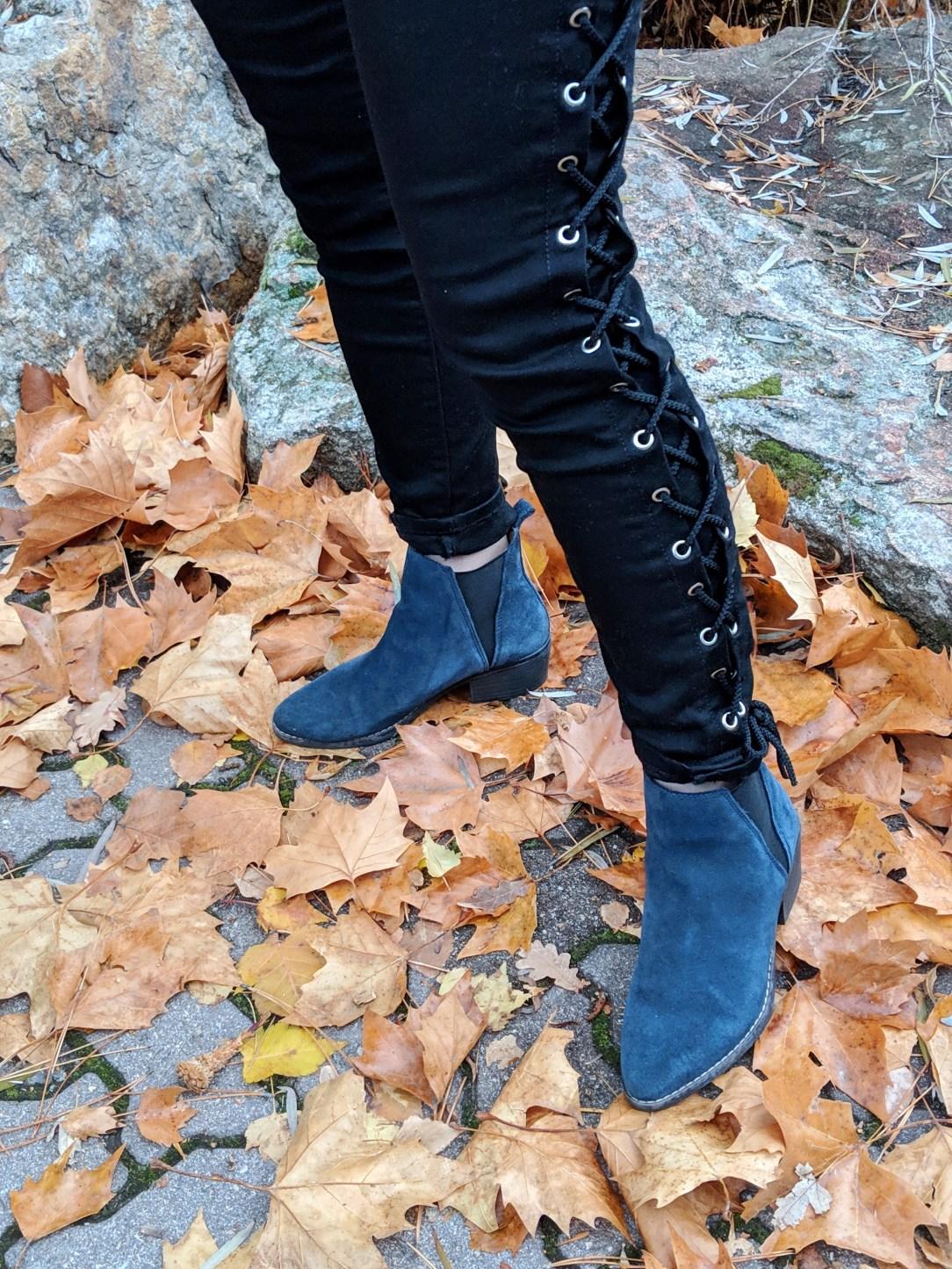 blue suede booties
