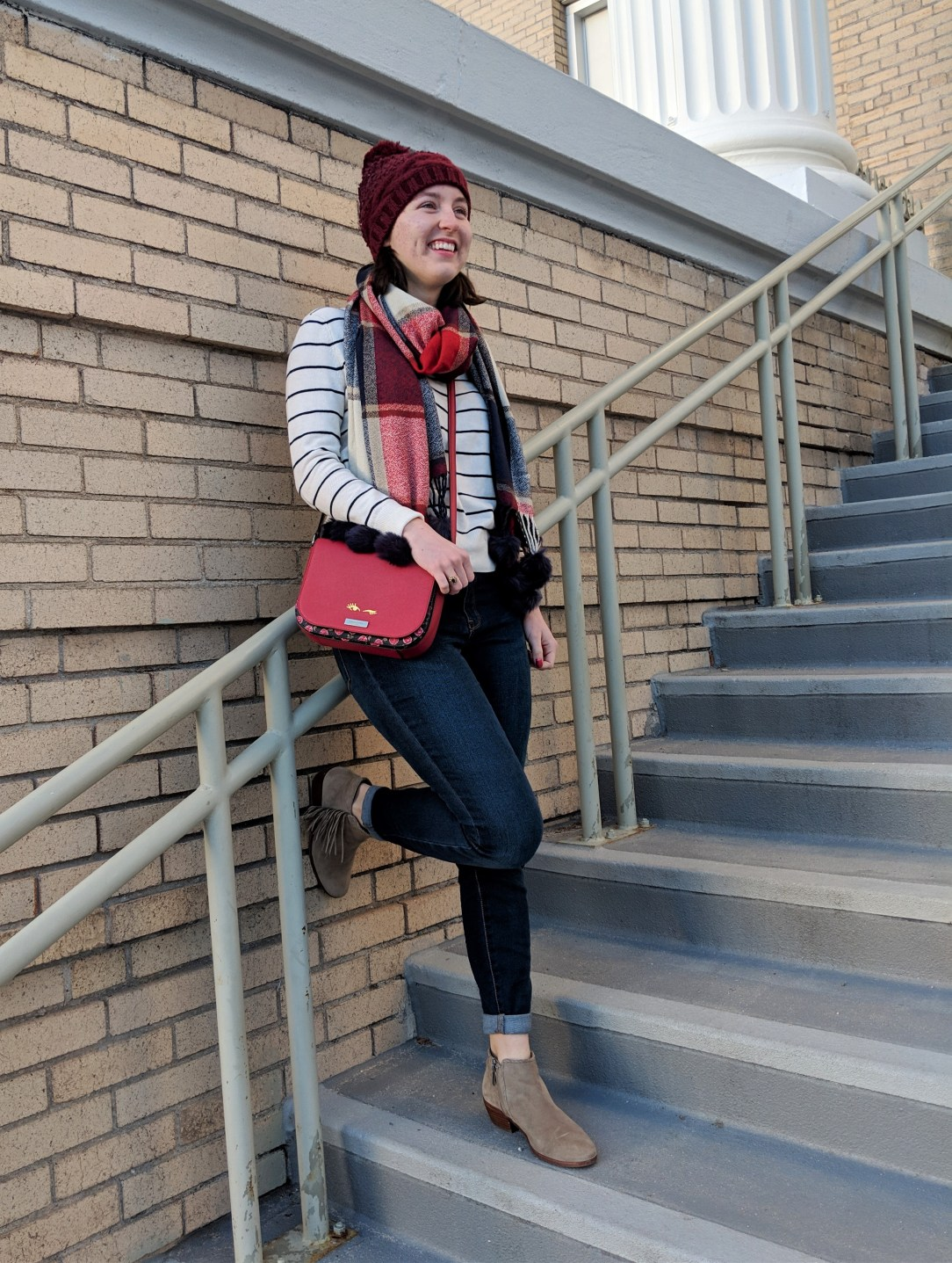 pops of red winter outfit staying warm