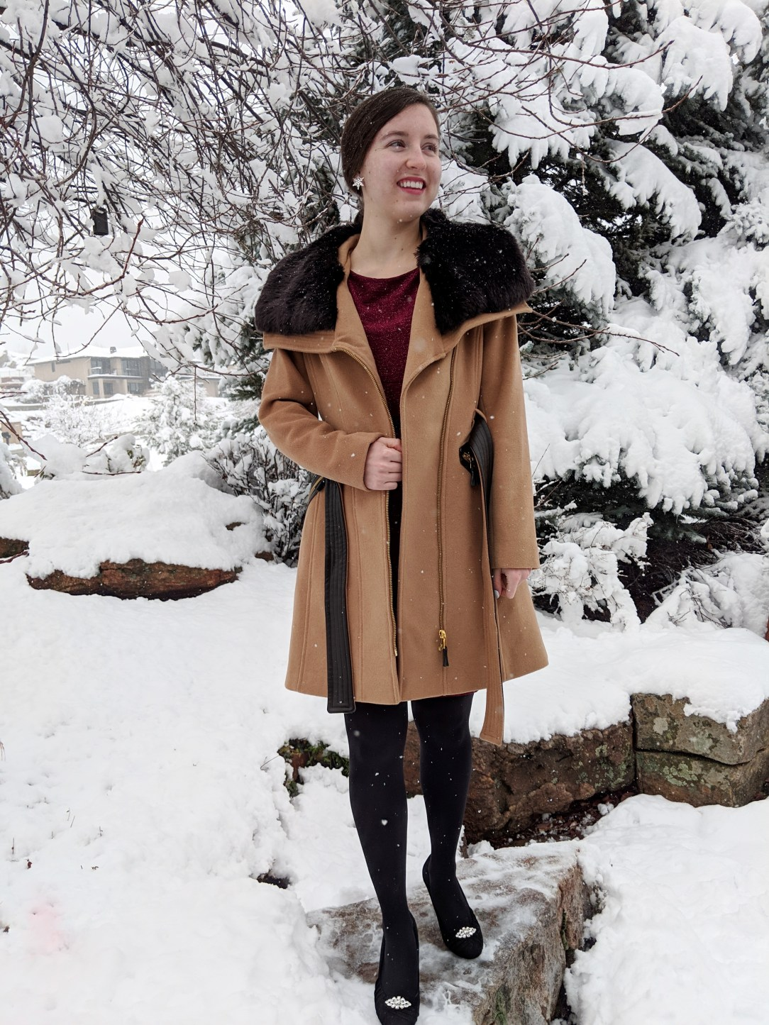 camel coat with fur collar