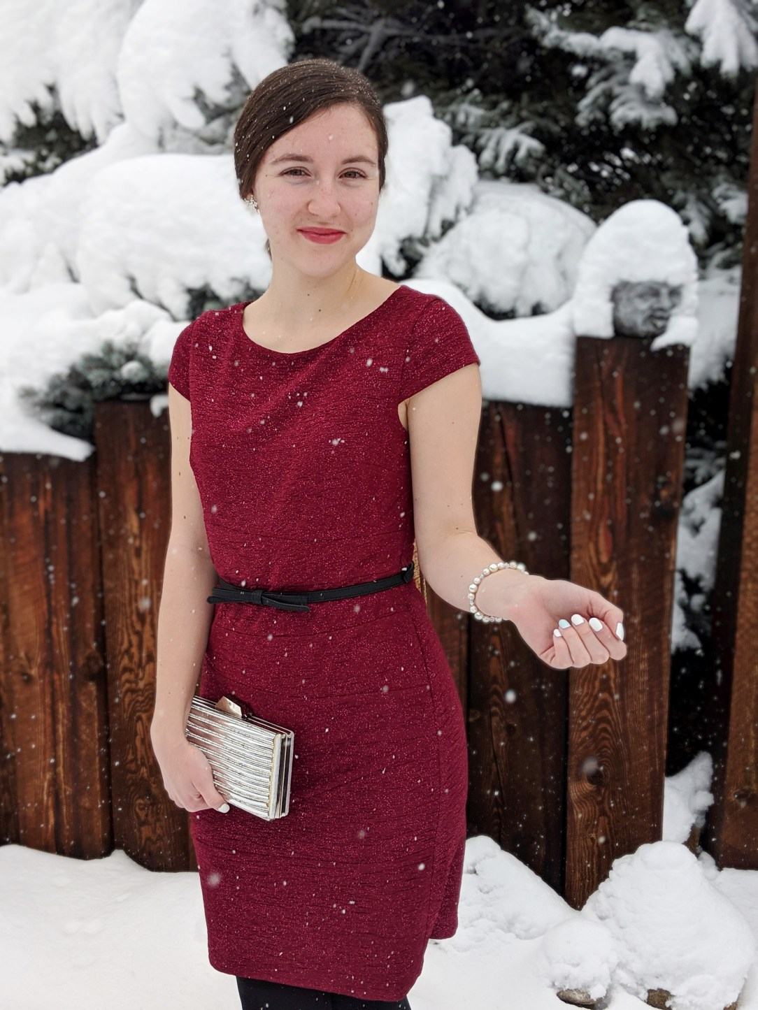 red sparkly JCPenney dress