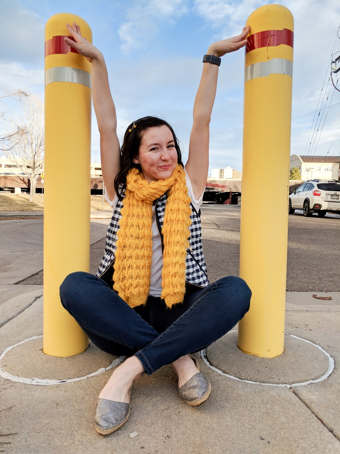 yellow textured scarf, navy gingham vest, sparkly espadrilles