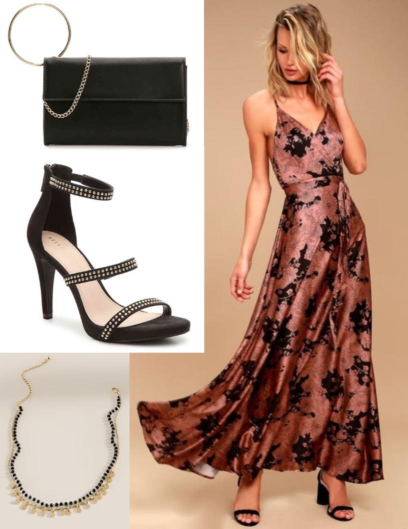 rose gold and black silky dress, black choker