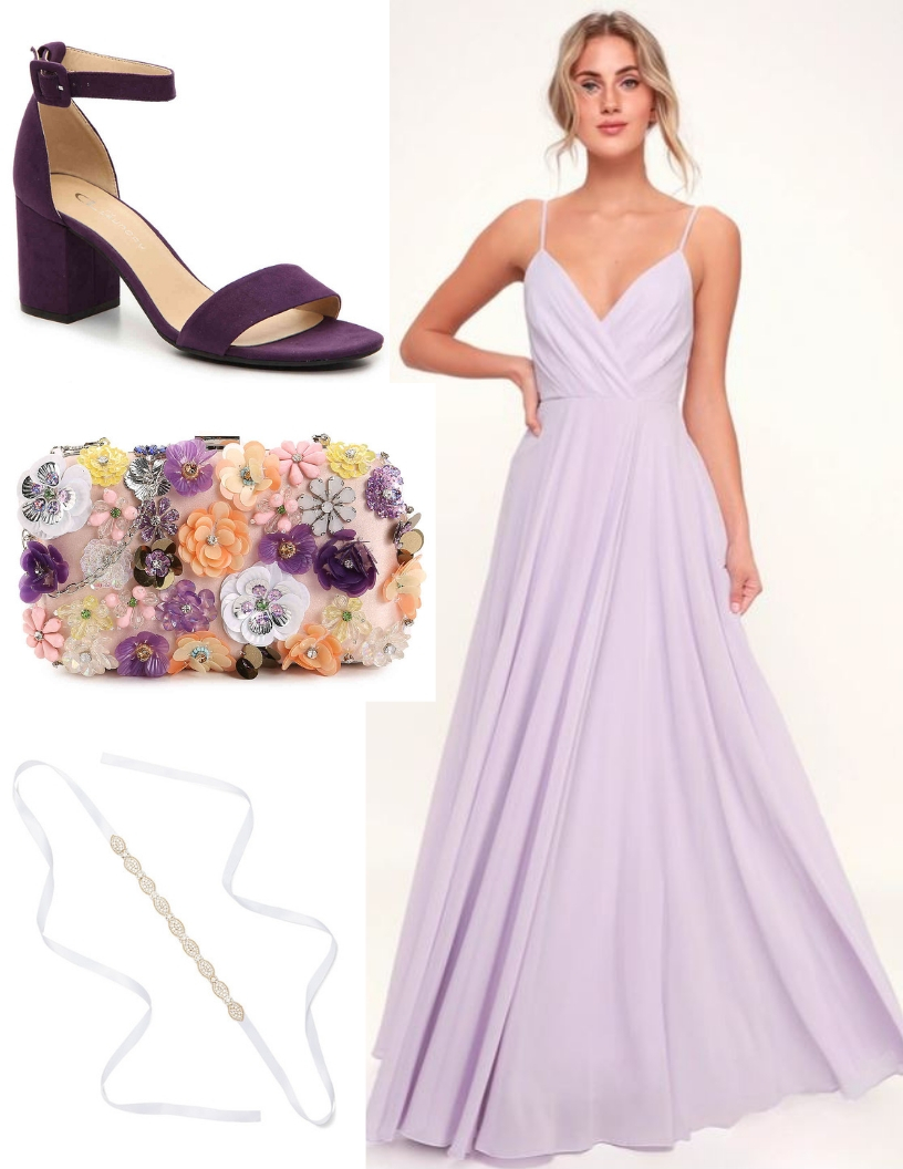 lavender prom dress, floral beaded clutch, purple shoes