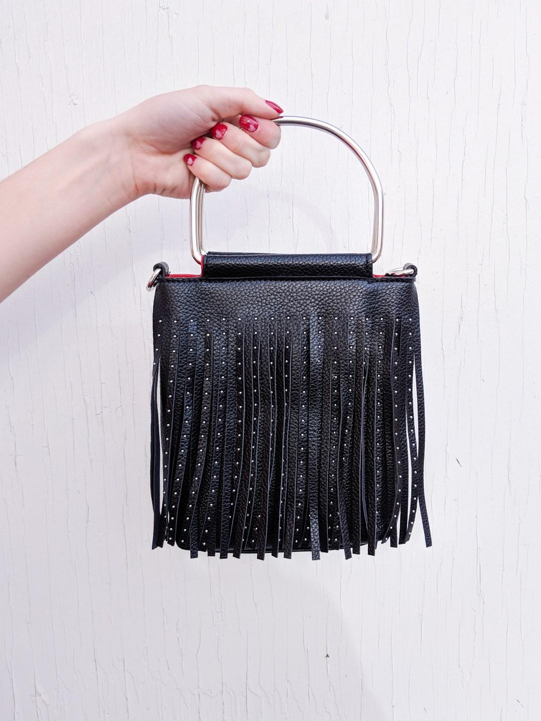 black fringe purse
