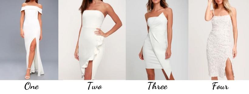 white cocktail dresses, white dresses