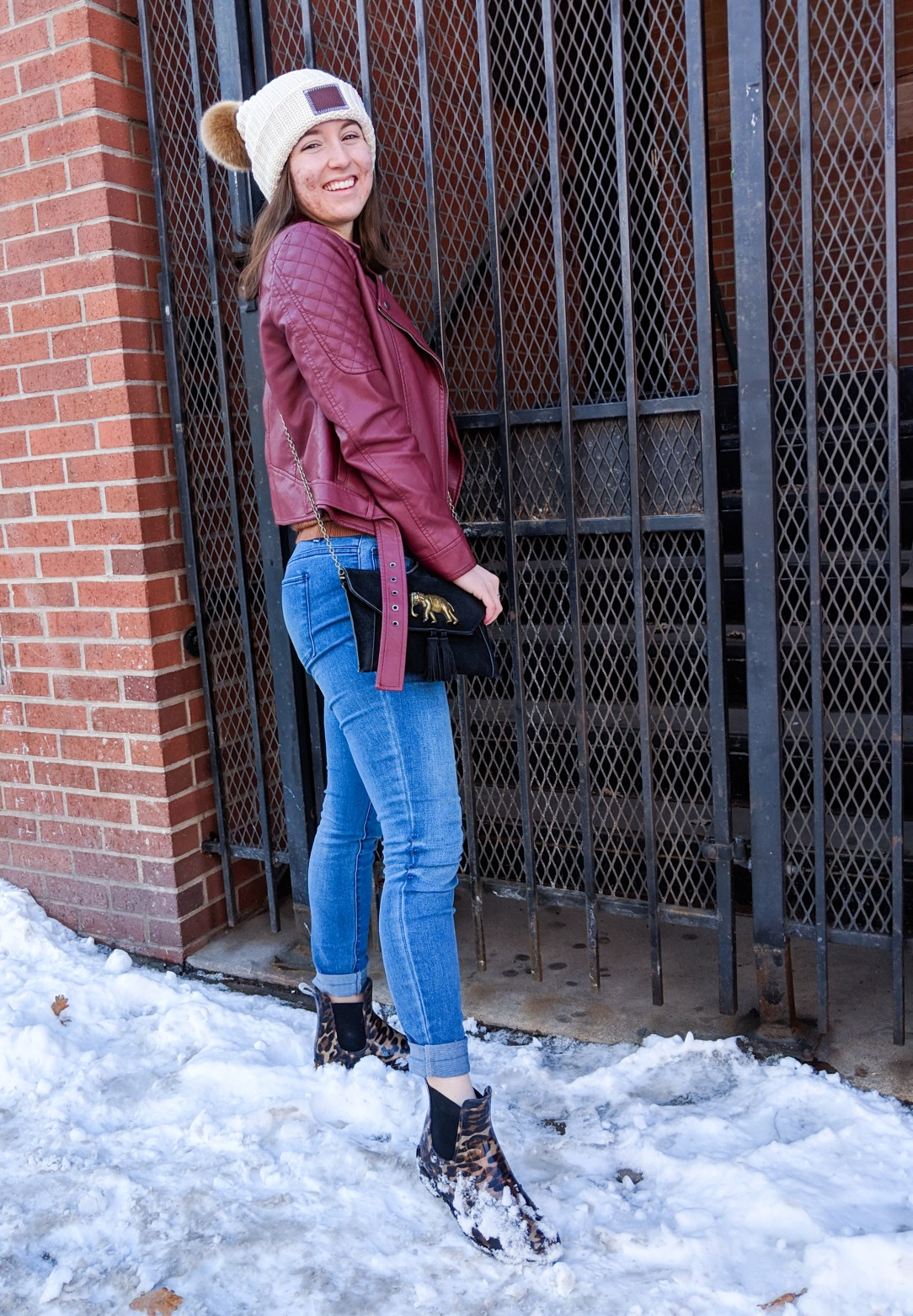 winter outfit, winter layers, blue jeans, quilted leather jacket