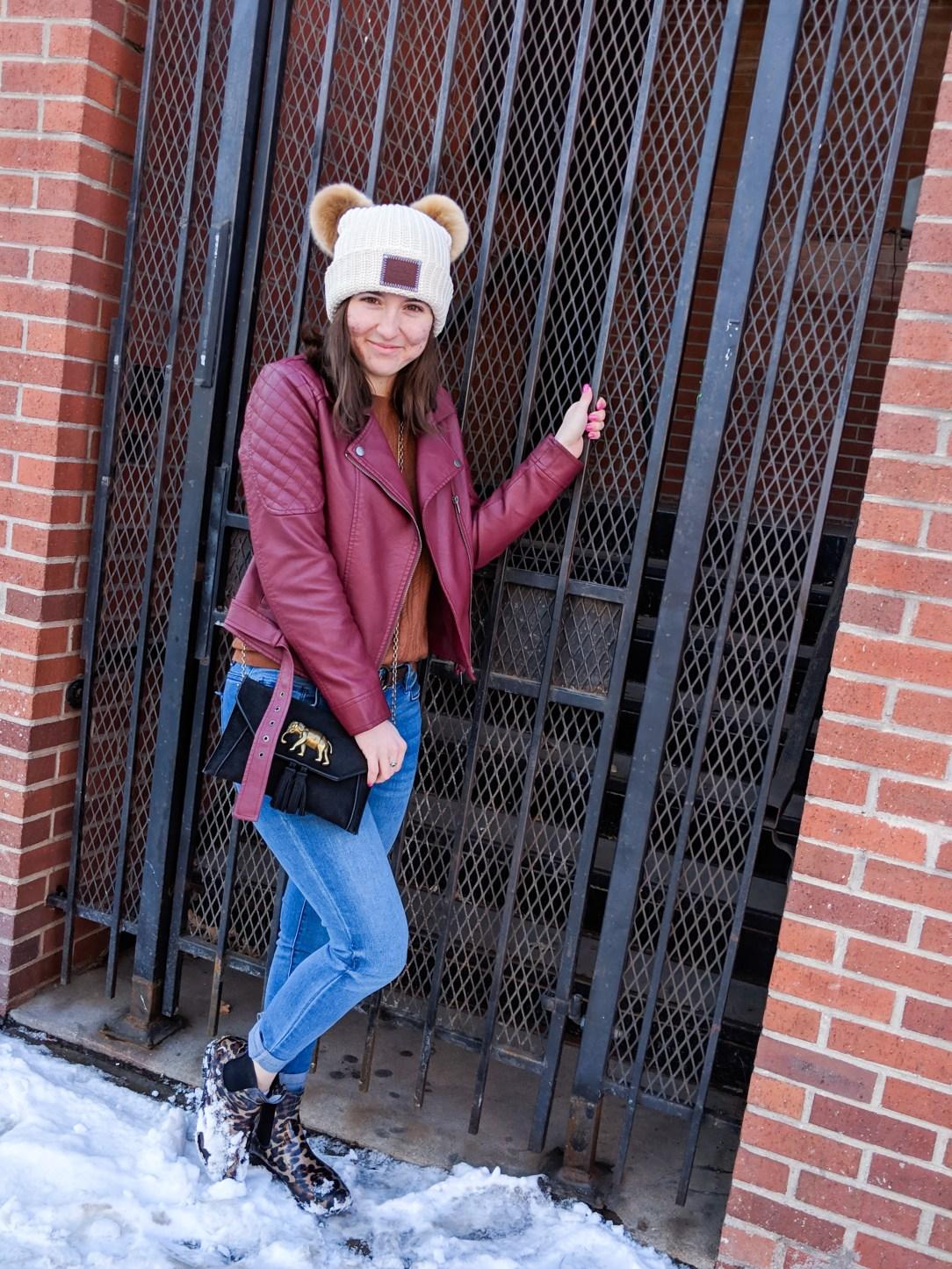 winter outfit, black crossbody, jeans, burgundy pleather jacket, BB Dakota jacket