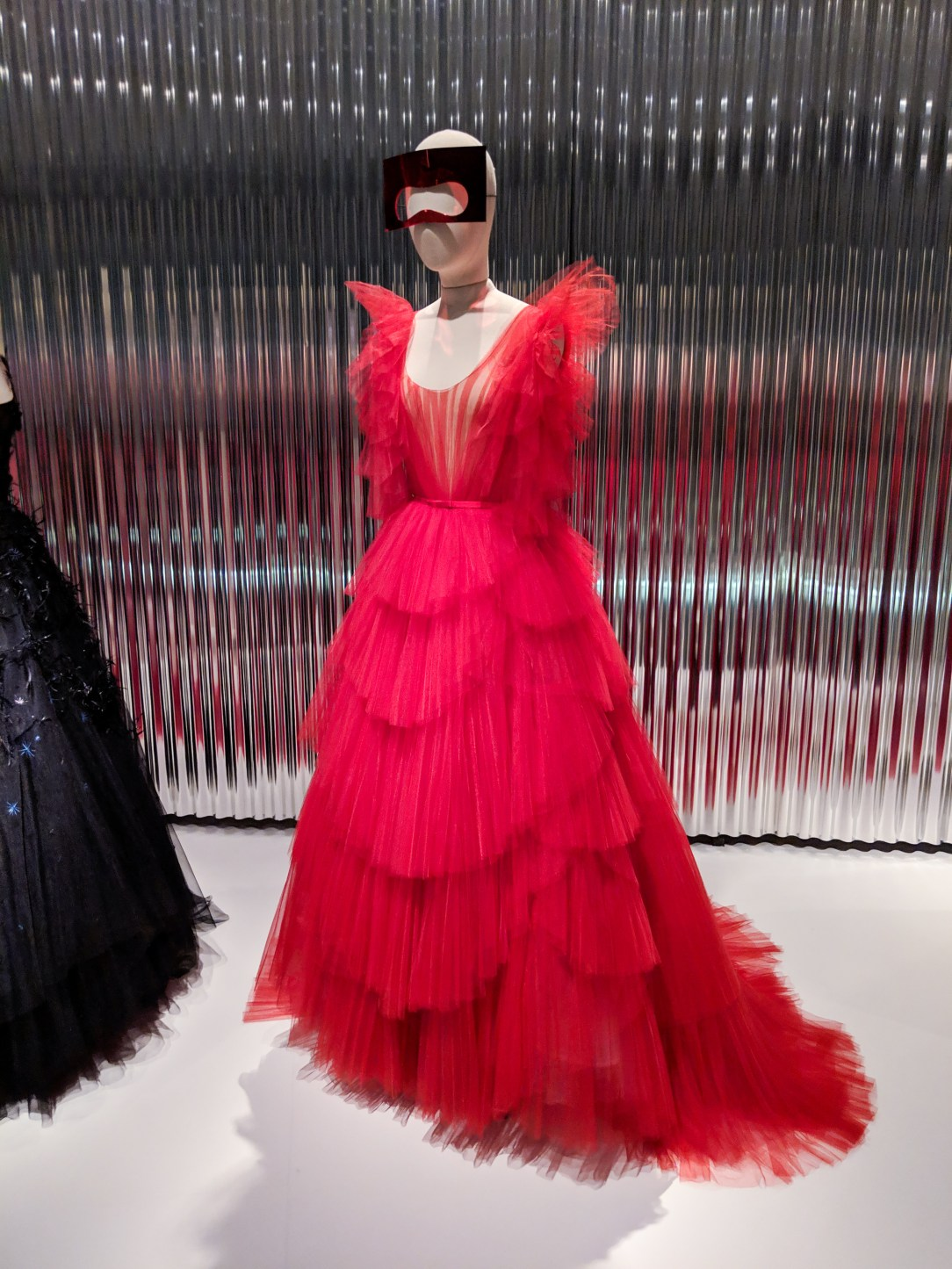 red tulle Dior gown