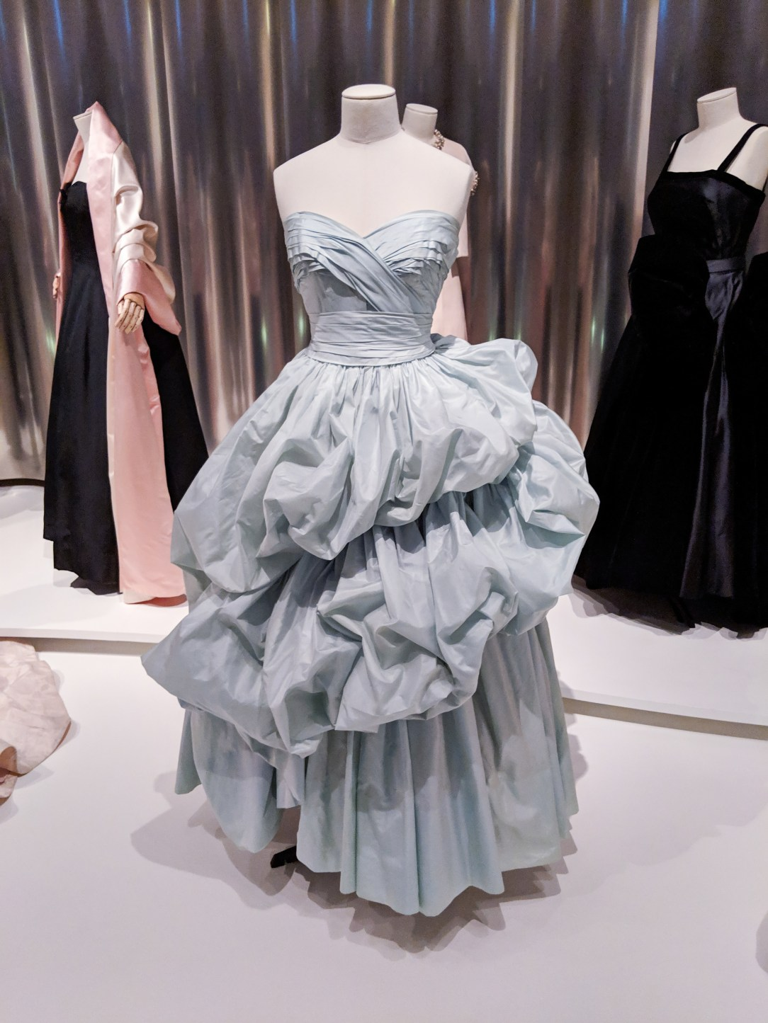 powder blue ruffle Dior dress