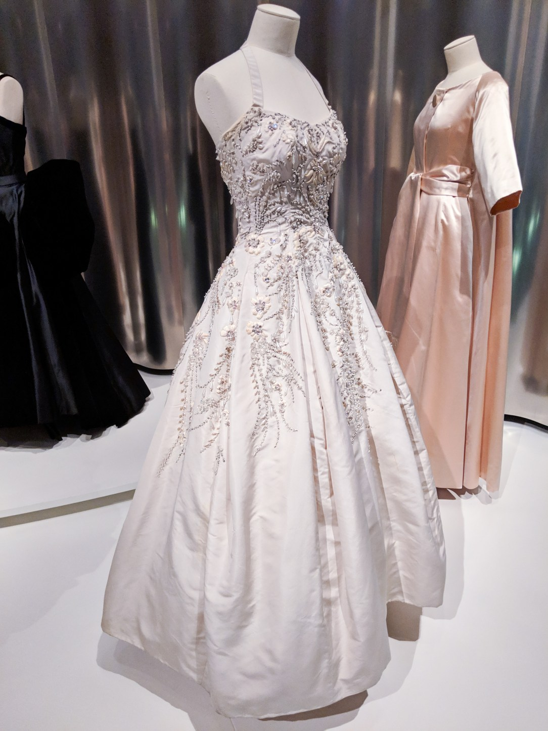 white beaded Dior gown
