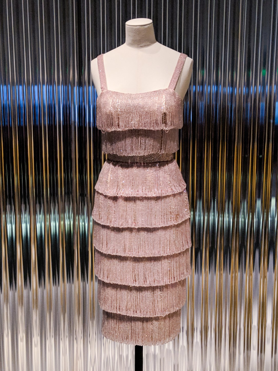Dior light pink fringe beaded dress