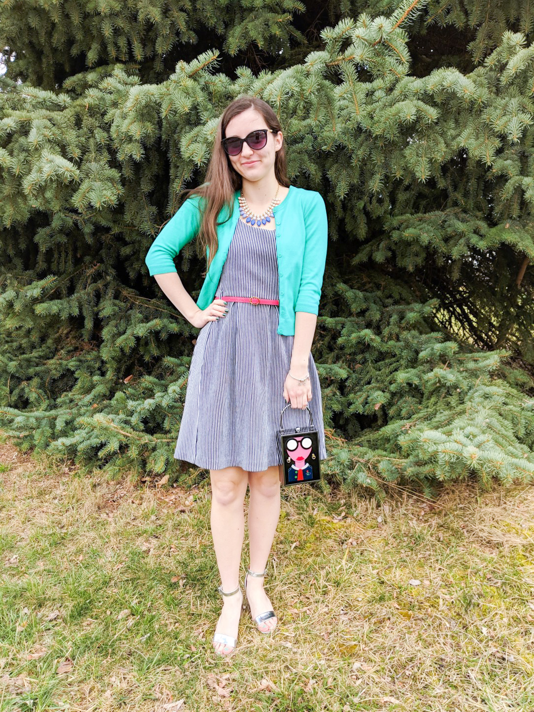 colorful Easter outfit, pinstripe dress, green cardigan, pink belt