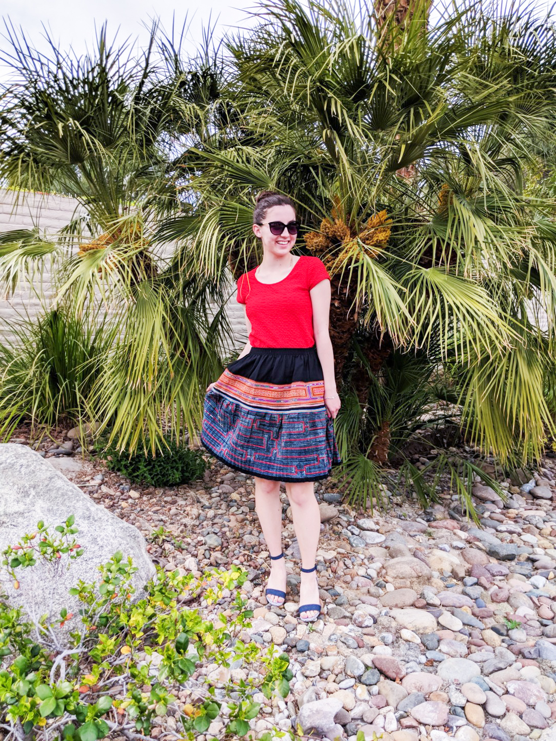 bold colors, red blouse, patterned skirt, Easter outfit