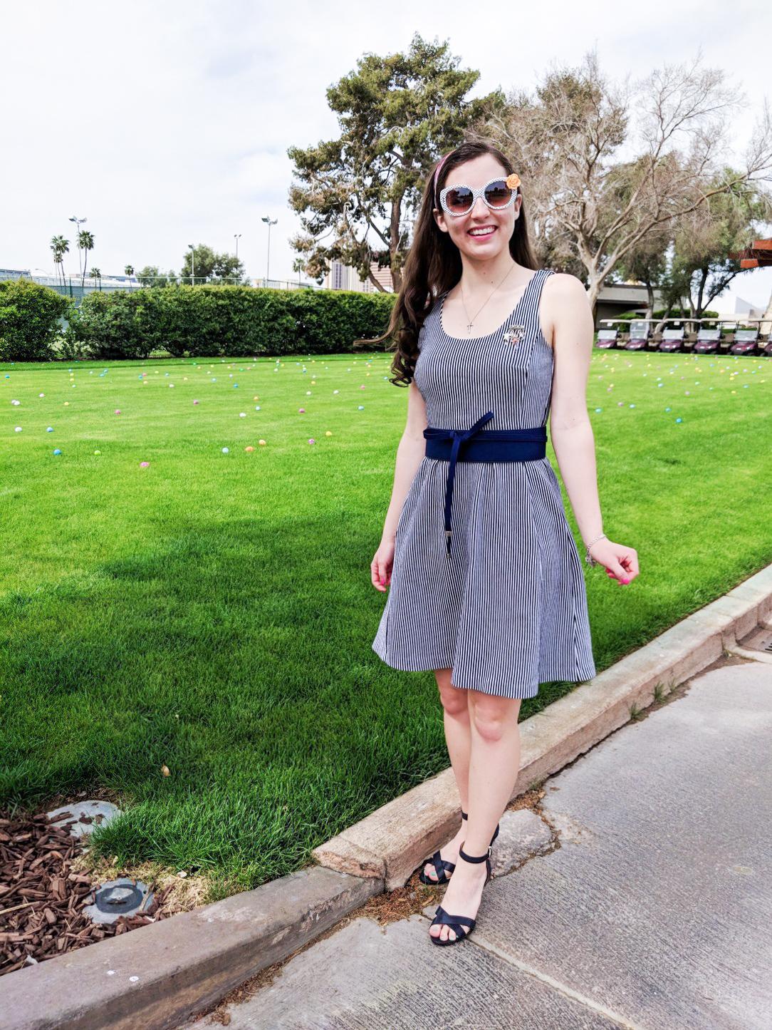pinstripe dress, blue belt, navy heels, Easter dress