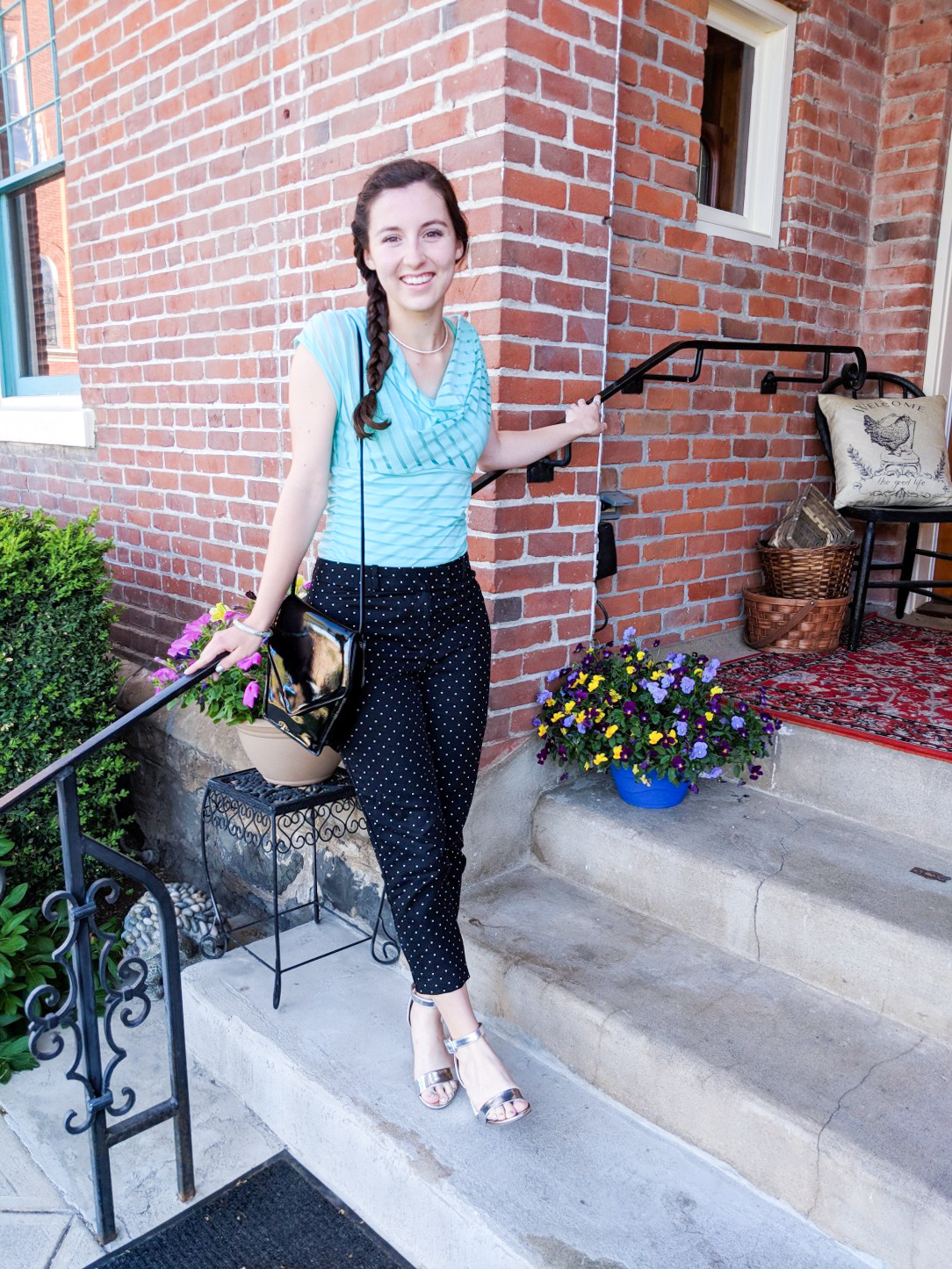 pattern mixing, mint cowl blouse, polka dots and stripes, polka dot pants, trousers, silver heels
